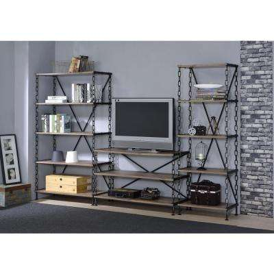 Jodie TV Stand in Rustic Oak and Antique Black