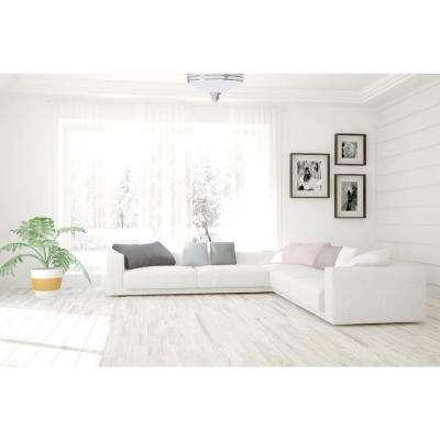 Avila 1-Light Indoor Brushed Nickel Flush Mount Ceiling Fixture with White Glass