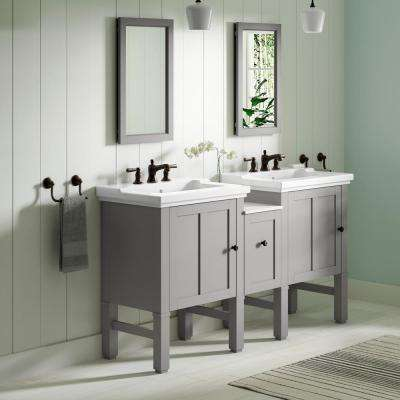 Chambly 60 in. W Vanity in Mohair Grey with Ceramic Vanity Top in White with White Basin
