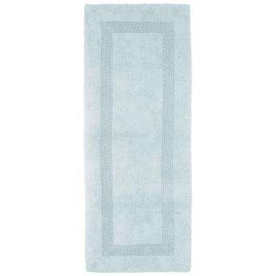 Lavish Home Seafoam 2 ft. x 5 ft. Cotton Reversible Extra Long Bath Rug Runner