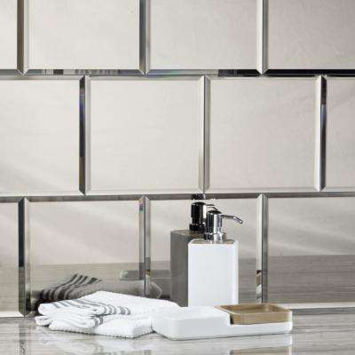 Reflections Silver Beveled Field 8 in. x 8 in. Glossy Glass Mirror Wall Tile (4.4 sq. ft.)