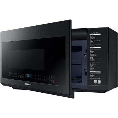 30 in. 2.1 cu. ft. Over the Range Microwave in Fingerprint Resistant Black Stainless with Ceramic Enamel Interior