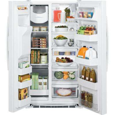 36 in. W 25.4 cu. ft. Side by Side Refrigerator in White