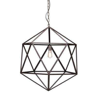 Amethyst 1-Light Rust Ceiling Large Pendant