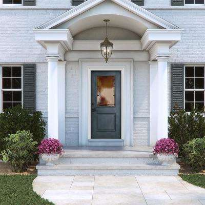 36 in. x 80 in. Right-Hand 1/2-Lite Wendover Denim Stained Fiberglass Prehung Front Door with Brickmould