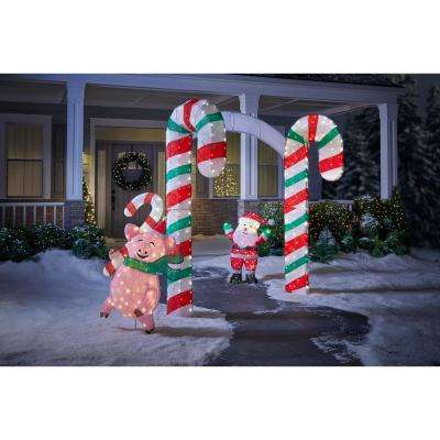 Toasty Tinsel 84 in. H x 120 in. W 350-Lights Christmas Candy Cane Archway
