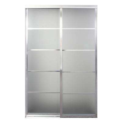 Silhouette 5-Lite Mystique Glass Bright Clear Aluminum Interior Sliding Door