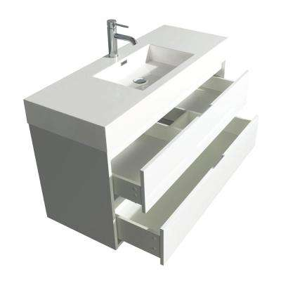 Daniella 47.3 in. W Vanity in Glossy White with Acrylic Vanity Top in White with White Basin and 46 in. Mirror