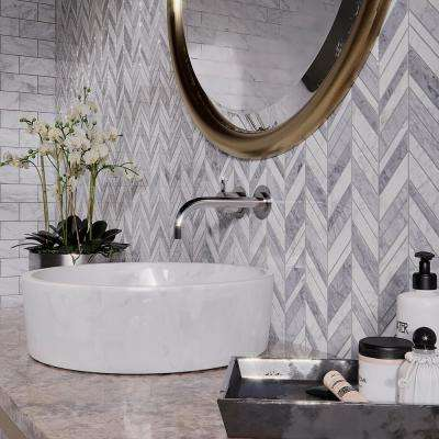 Carlton Gray Chevron 11.25 in. x 12 in. x 9 mm Marble Mosaic Wall/Floor Tile