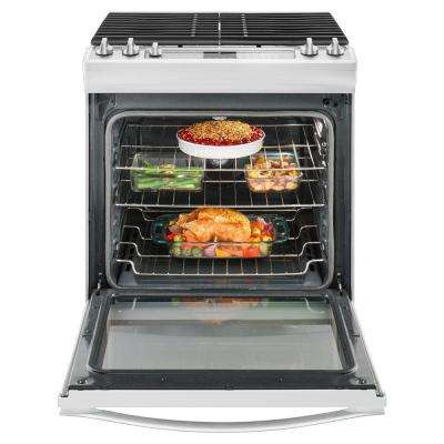 5.8 cu. ft. Slide-In Gas Range with Center Oval Burner in White Ice