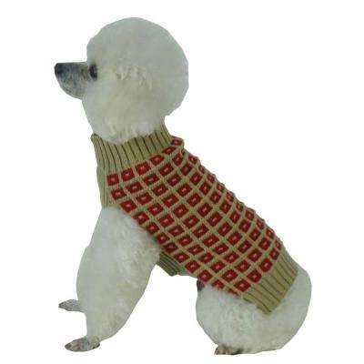 X-Small Tan and Red Butterscotch Box Weaved Heavy Cable Knitted Designer Turtle Neck Dog Sweater