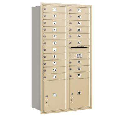 56-3/4 in. H x 31-1/8 in. W 4C Rear Loading Horizontal Mailbox with 20 MB1 Doors/2 PL's in Sandstone