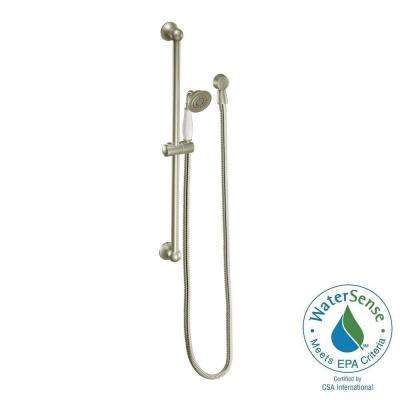 Weymouth Eco-Performance 1-Spray 3 in. Handshower with Slide Bar in Brushed Nickel