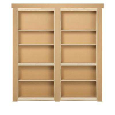 60 in. x 80 in. Flush Mount Assembled Paint Grade Unfinished In-Swing Solid Core Interior French Bookcase Door