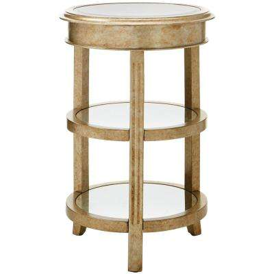 Bevel Mirror Gold Round Accent Table