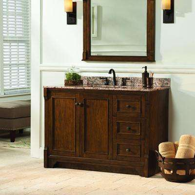 Creedmoor 48 in. W Bath Vanity Cabinet Only in Walnut with Right Hand Drawers