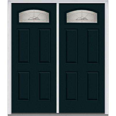 66 in. x 81.75 in. Master Nouveau Decorative Glass 1/4 Lite 4 Panel Painted Fiberglass Smooth Exterior Double Door