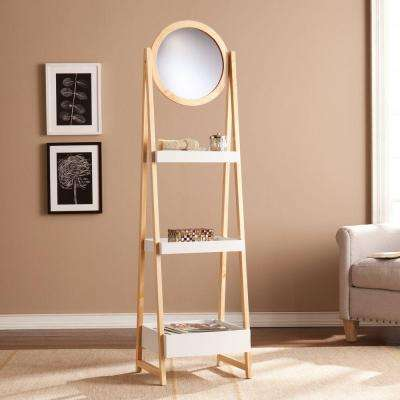 Sebastiane 3-Storage Shelf with Mirror in White and Natural Oak