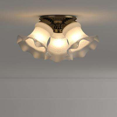 3-Light Ceiling Fixture Antique Brass Interior Flush-Mount with Frosted Ruffled Edge Glass