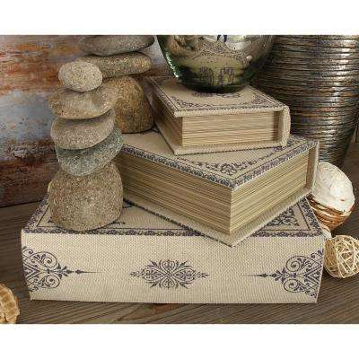 Vintage Rectangular Wood and Synthetic Fabric Book Boxes (Set of 3)