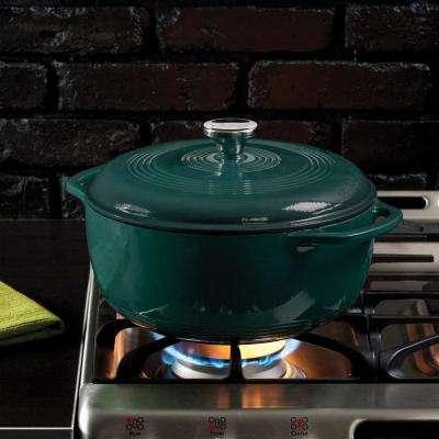 6 Qt. Round Enamel Cast Iron Dutch Oven in Lagoon Blue