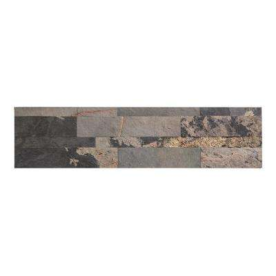 24 in. x 6 in. Peel and Stick Stone Decorative Backsplash in Medley Slate