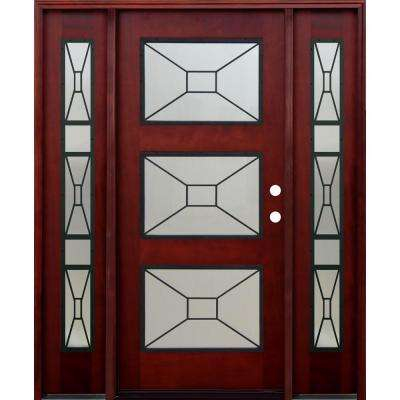 Contemporary 3 Lite Mistlite Stained Mahogany Wood Prehung Front Door with Grille and 14 in. Sidelites