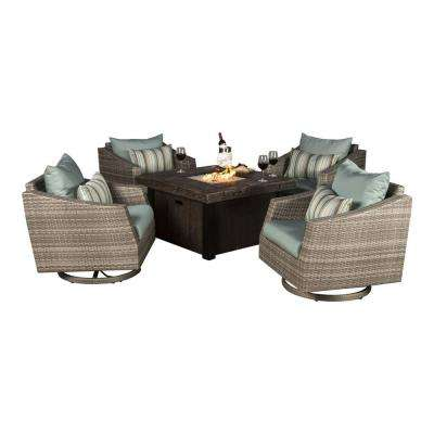 Cannes 5-Piece All-Weather Wicker Fire Pit Patio Conversation Set with Bliss Blue Cushions