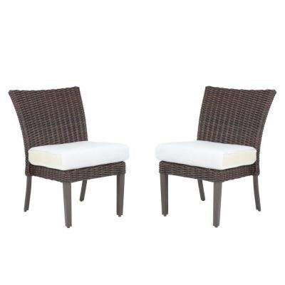 Mill Valley Fully Woven Patio Armless Side Chair with Parchment Cushion (2-Pack)