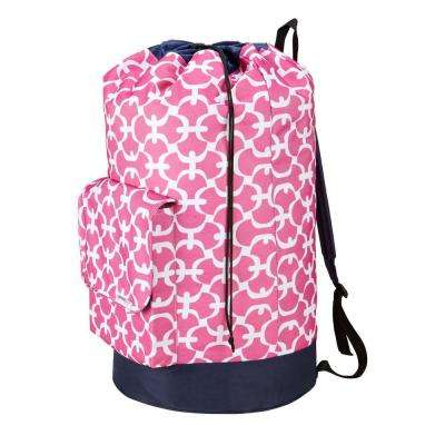 Collapsible Laundry Backpack Tote in Pink Scout