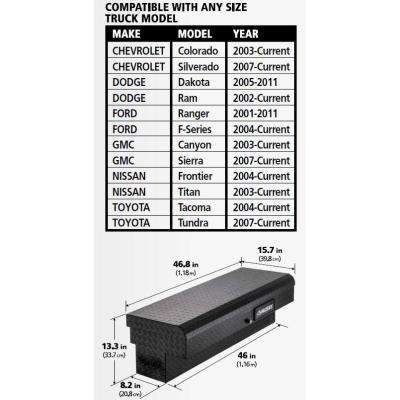 46.8 in. x 15.7 in. x 13.3 in. Matte Black Aluminum Low Side Truck Box