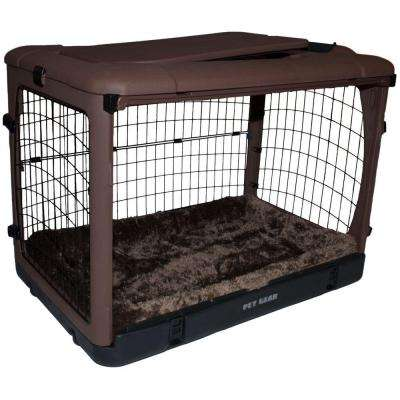 The Other Door 27 in. L x 18.25 in. W x 21.75 in. H Chocolate Steel Crate with Pad