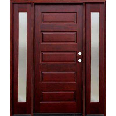 Contemporary 5-Panel Stained Mahogany Wood Prehung Front Door with 12 in. Mistlite Sidelites
