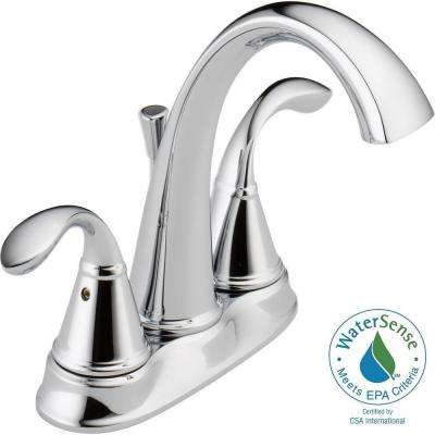 Zella 4 in. Centerset 2-Handle Bathroom Faucet with Metal Drain Assembly in Chrome