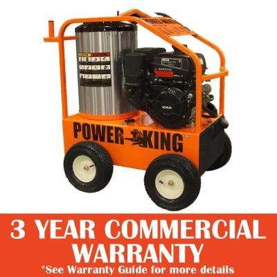 4,000 PSI 3.5 GPM Gasoline Powered Commercial Hot Water Pressure Washer, Oil-Fired, 14HP Kohler Pro Engine, Triplex Pump