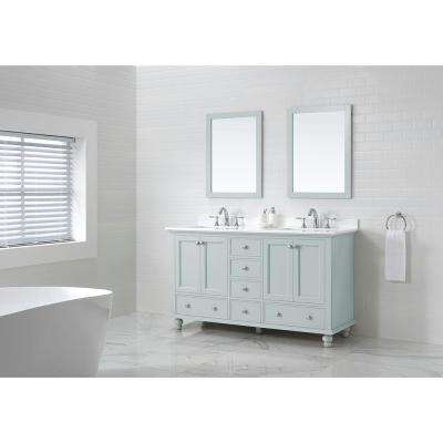 Orillia 60 in. W x 22 in. D Vanity in Misty Latte with Marble Vanity Top in White with White Sink