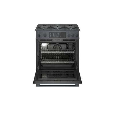 800 Series 30 in. 4.8 cu. ft. Slide-In Gas Range with Self-Cleaning Convection Oven in Black Stainless Steel