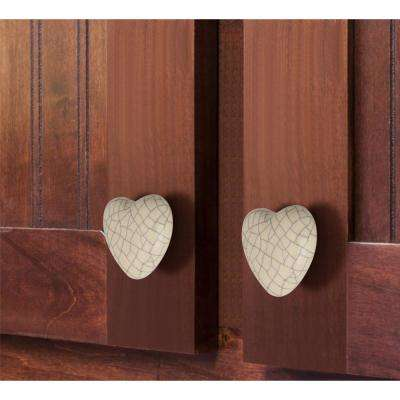 Crackled Heart 1-37/50 in. (44 mm) White Cabinet Knob (Pack of 5)