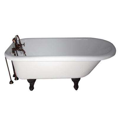 5.6 ft. Acrylic Ball and Claw Feet Slipper Tub in White with Oil Rubbed Bronze