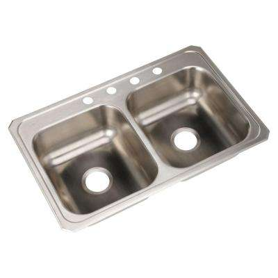 Celebrity Top Mount Stainless Steel 33 in. 4-Hole Double Bowl Kitchen Sink