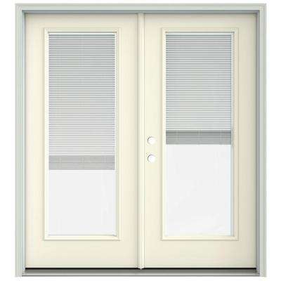 72 in. x 80 in. French Vanilla Prehung Right-Hand Inswing French Patio Door with Brickmould and Blinds