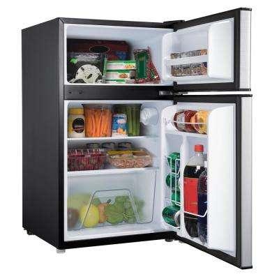 3.1 cu. ft. Mini Refrigerator with Dual Door True Freezer in Stainless Look