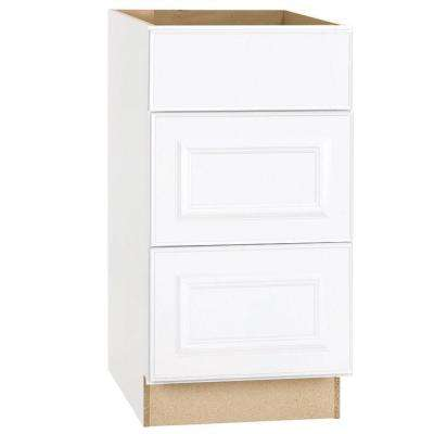 Hampton Bay Hampton Assembled 18x34.5x24 inch Drawer Base Kitchen Cabinet with Ball-Bearing Drawer Glides in Satin White