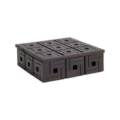 9 in. x 3 in. Chocolate Teak Patterned Decorative Box