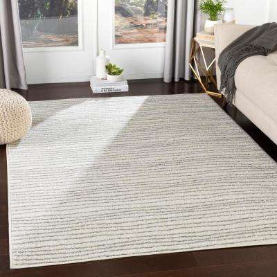 Morana White 5 ft. 3 in. x 7 ft. 3 in. Striped Area Rug