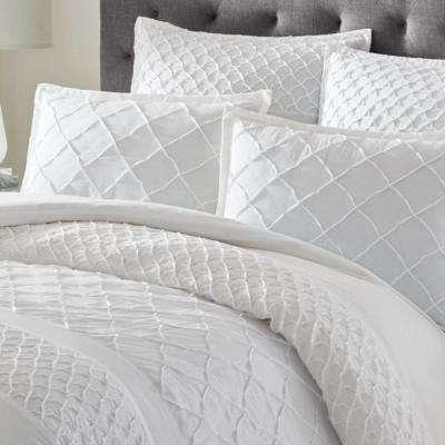 Mosaic White Cotton Blend Comforter Set