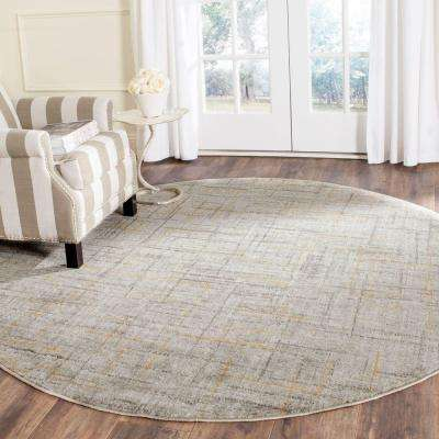 Porcello Grey/Dark Grey 5 ft. 1 in. x 5 ft. 1 in. Round Area Rug