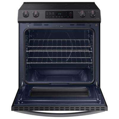 30 in. 6.3 cu. ft. Slide-In Electric Range with Self-Cleaning Oven in Black Stainless Steel
