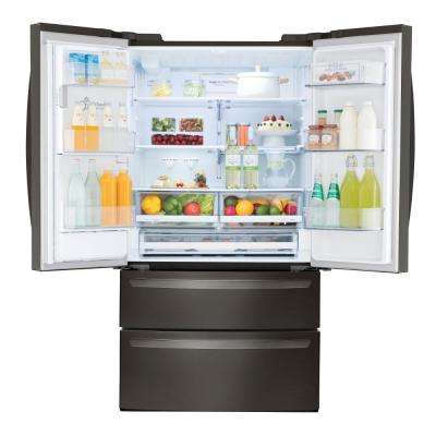 27.8 cu. ft. French Door Smart Refrigerator with Wi-Fi Enabled in Black Stainless Steel
