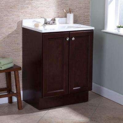 Vanity Pro All-In-One 24 in. W Bathroom Vanity in Chestnut with Cultured Marble Vanity Top in White